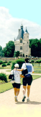 lesbian cyclists at Chenonceau chateau in France's Loire Valley